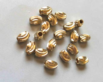 100pcs Raw Brass Oval Carved Beads Spacer Beads 6mmx4mm - F418