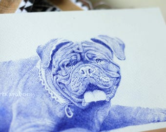 Happy Bulldog | Original Pointillism Drawing | Blue Ballpoint Pen on A5 Paper