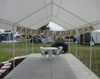 """Happy (any age) BDay - Burlap banner - 3"""" letters - Please message me with age and name"""