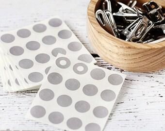 Gray Reinforcement Stickers.  Silver Hole Reinforcement Stickers.
