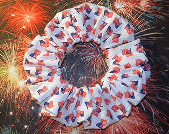 Patriotic Hair Scrunchie, Hair Tie, Fabric Ponytail Holder, Small Flags All Over