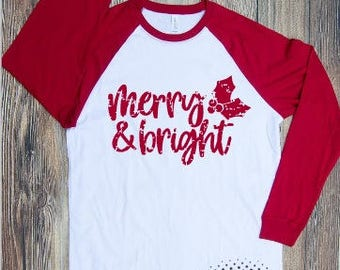 Merry and Bright Grunge T-shirt Adult Raglan Baseball Tee  Vinyl Unisex Cotton Christmas X-mas Holiday