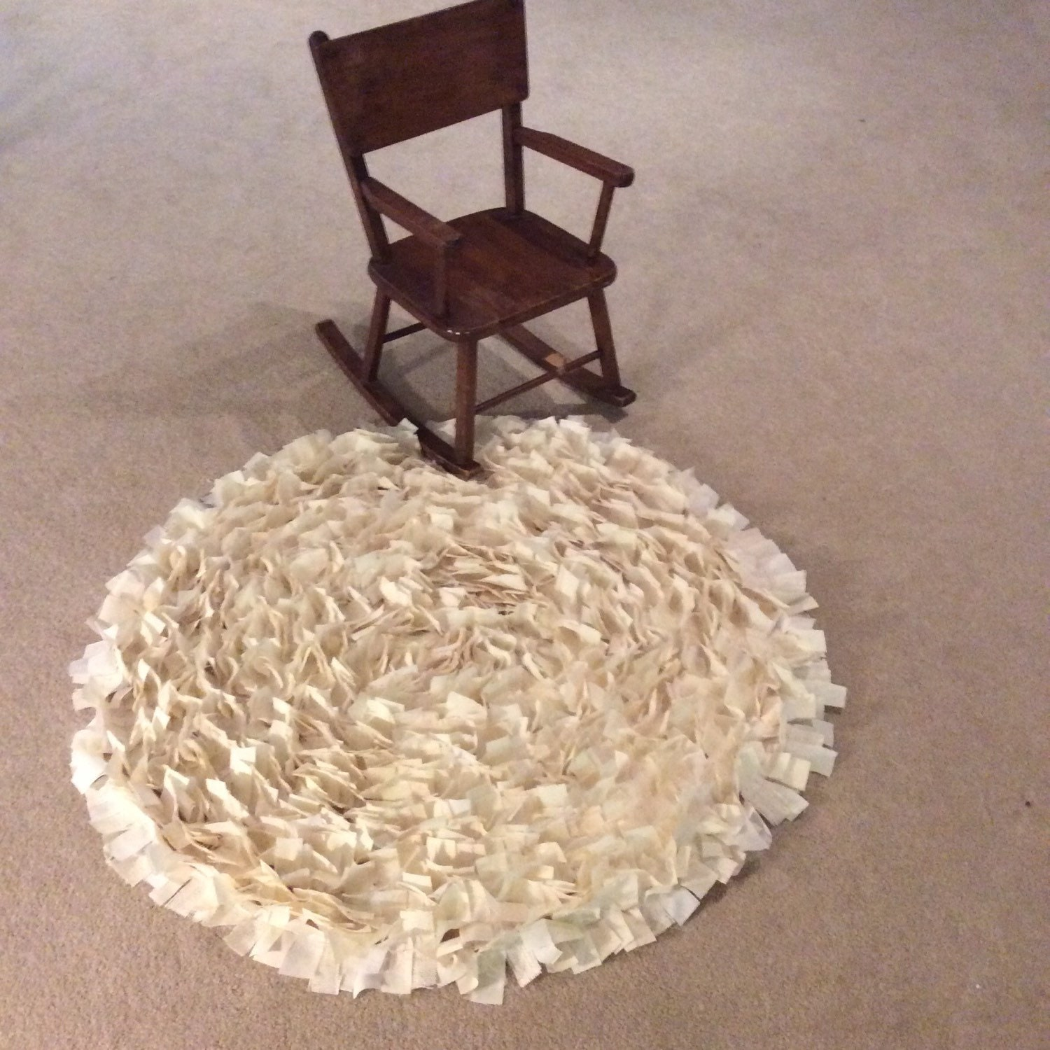 Ivory Shabby Chic Rag Rug Tule White Cotton Natural
