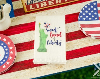 Made to Order Miniature 4th of July Sweet Land of Liberty Tea Towel - 1:12 Dollhouse Miniature