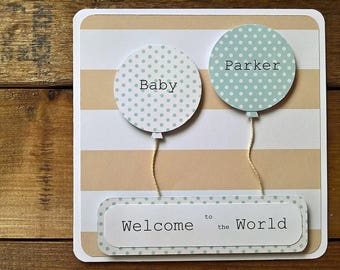 personalised new baby balloon card