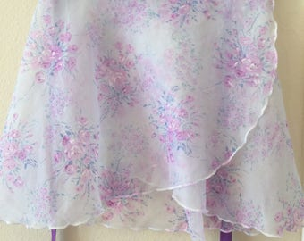 Youth Chiffon Ballet Wrap Skirt - Purple Floral