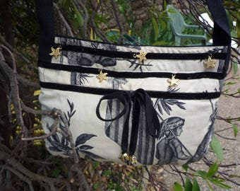 Small shoulder bag in cotton and velvet Ribbon