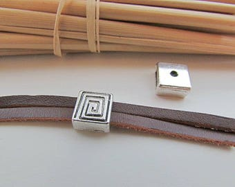 5 beads from 58.19 cord 2 mm - silver - 8 mm-5 x