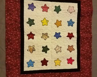 "Scrappy Stars Table Runner or Wall Hanging (28"" x 25""); Stars; Wall Hanging; Table Runner"