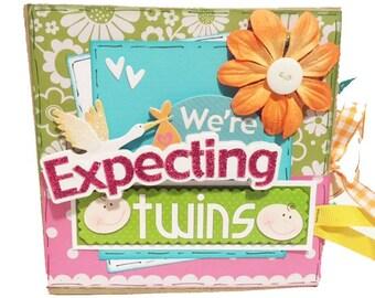 We're Expecting Twins Srapbook - Twins Pregnancy Scrapbook - Paper Bag Album - Twins Memory Book - Twins Mini Scrapbook