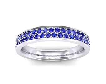 Flat Two-Row Pave Blue Sapphire Ring, Blue Sapphire Ring, Flat Two-Row Ring, Ring, Sapphire Ring, Gemstone Ring,Wedding Ring,Women's Ring