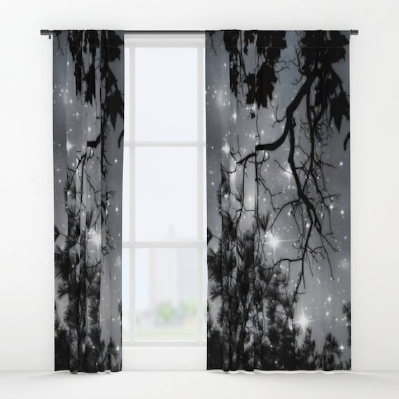 Starry Night Sky Window Curtain, Stars, Forest, Decorative, Unique Design, Nature Decor, Office Window Curtain, Dorm, Campus,Woodland,Dreamy