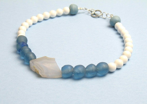 Bead Necklace in Blue and White with Chalcedony,  Sea Shell and African Fair Trade Recycled Glass Beads / Womens Gift for Her