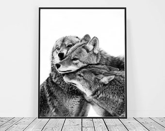 Wolves Print, Digital Download, Printable Art, Wolf Art, Animal Print