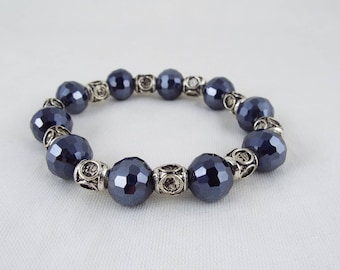 Gruoch (Dark Navy Multi Faceted Glass Rounds & Decorative Metal Spacers Beads Stretch Bracelet)