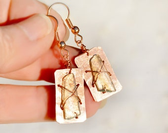 Copper Jewelry. Copper Earrings. Israeli Roman Glass Earrings. Rectangle Copper Sheet Earrings Roman Glass Jewelry Free Shipping from Israel