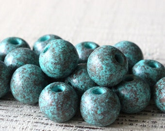 12mm Round - Rustic Green Patina Balls - Mykonos Round Beads For Jewelry Making - Metalized Ceramics - Large Hole - Choose Your Amount