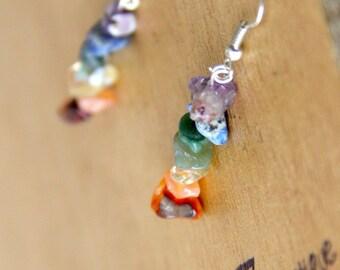1 Pair RAW Crystal Chakra Earring  GENUINE Natural Stone Yoga Jewelry healing jewelry healing crystals