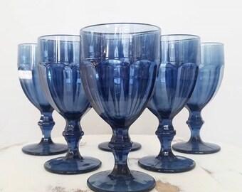 Set of 6 Libbey Duratuff Blue Goblets