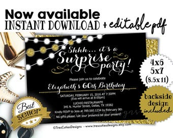 Surprise birthday invitation - 60th birthday Party - Black - Gold Glitter - PDF Editable - PDF Template - Edit Yourself