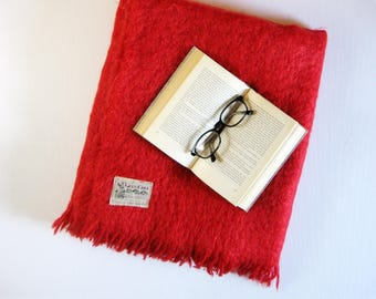 Vintage Red Mohair Blanket - Glen Cree Made in Scotland - Fringed Blanket - Red Home Decor - Rustic Cabin Decor - Cozy Throw Blanket