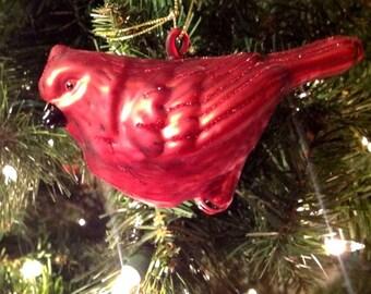 Christmas Ornament Glittery Glass Red Cardinal Bird Melrose