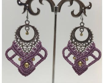 Grape earrings - micro macrame