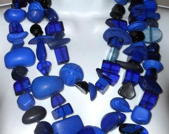 Sobral Aventuras Royal Colbalt Blue Indiana 3 Voltas Statement Necklace Brazil Import