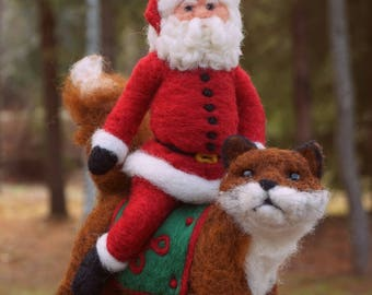 Needle Felted Fox and Santa Claus Wool Father Christmas And Animal Soft Sculpture by Bella McBride