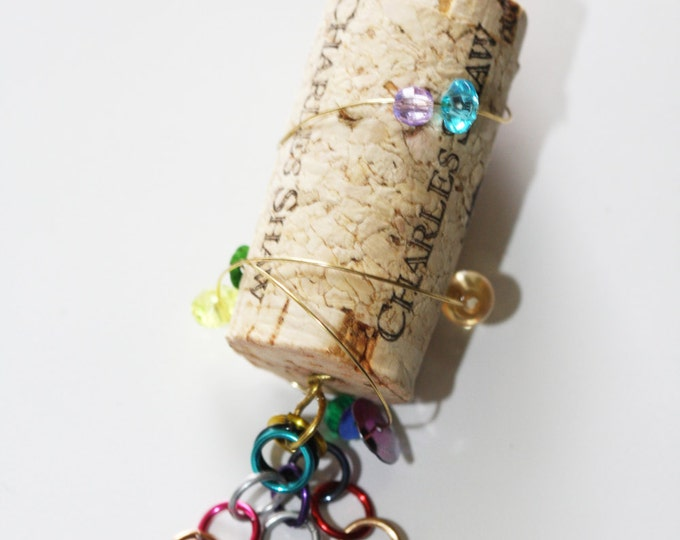 Recycled Beaded Wine Cork Ornament, Eco-Friendly Beaded Wine Cork Ornament, Cute Upcycled Beaded Cork Ornament, Gift for Wine Lovers