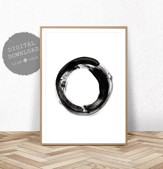 Abstract Print, Modern Minimalist Watercolour Painting, Printable Wall Art, Digital Download, Large Scandinavian Poster, Black and White Art