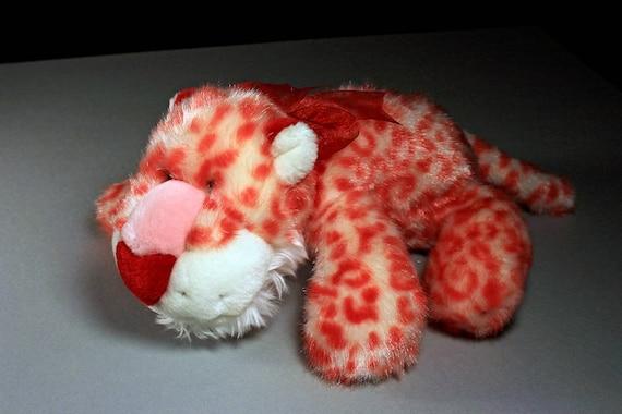 Leopard Stuffed Animal, Chosun International, Plush Leopard, Pink, White, and Red,  Valentine's Day Gift