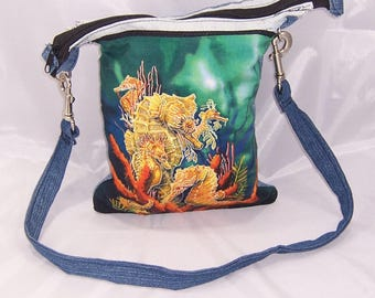 SeaHorse purse, 9in by 10 in purse, Crossbody purse, Over Shoulder purse, recycled jean purse, upcycled jean purse, denim purse