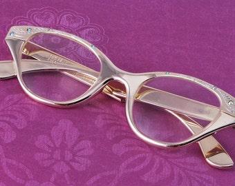Vintage Optical Cat Eye Glasses Frame and Original Glass  Vintage Glasses w/ Austrian Crystals Made in Switzerland