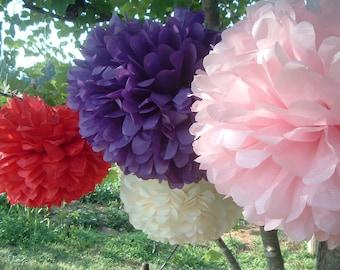 5 Tissue paper pom poms, Wedding decorations, Baby, Bridal shower, Party pom pomsl, Party decorations. Hanging pom poms. Hanging flower ball
