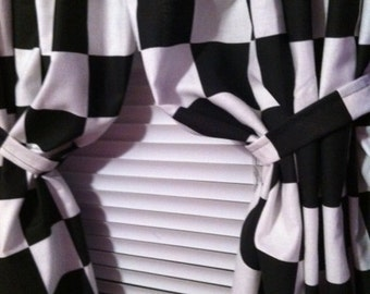 Black And White Checkerboard Curtains