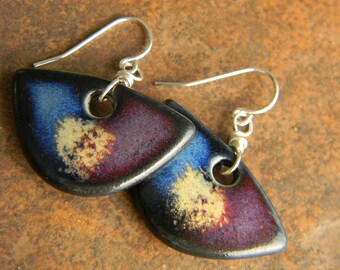 Multi Colored with Gold Splash, Earrings, Handmade from Porcelain and Sterling Silver