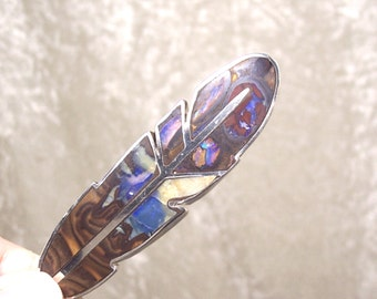 REVERSIBLE Stone Inlay Feather Centerpiece –Boulder Opal and Sterling Silver