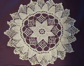 5 Vintage Hand Crocheted White Doilies - all different #1