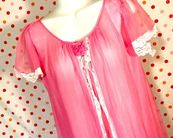 PINK Vintage Chiffon Nightgown 1960s Vintage Lingerie by Pacita's Large Medium Babydoll