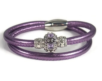 Purple Leather Wrap Bracelet, Womens Leather Bracelet, Womens Leather Jewelry, Wrap Leather Bracelet, Leather Wrap Bracelet