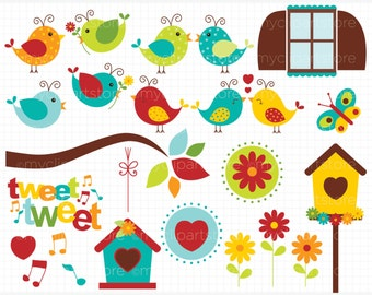 Clipart - Bird Garden / Little Love Birds - Digital Clip Art (Instant Download)