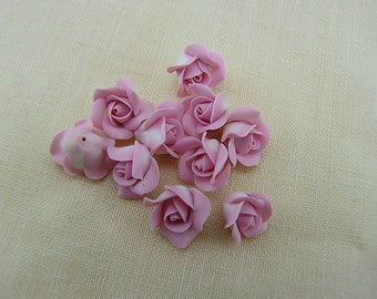 Light Pink Roses, Polymer Clay Flowers, Flower Beads,Pink Flowers, Miniature Flowers, 10 pieces