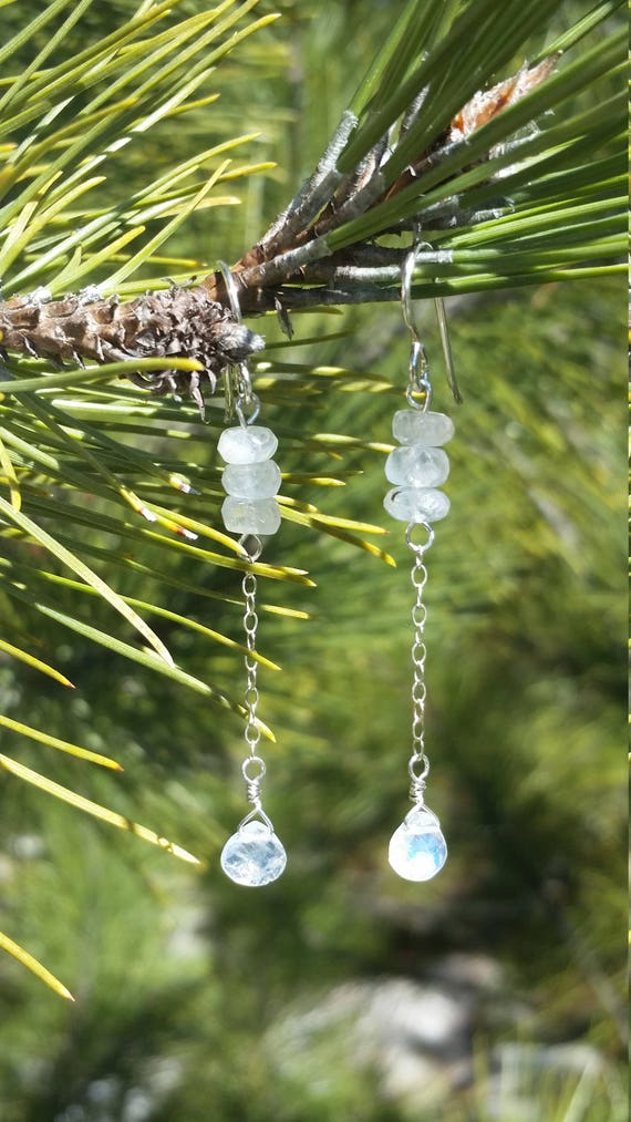 Faceted moonstone dangle earrings