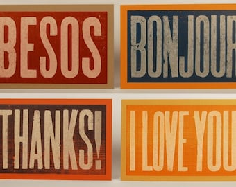 Besos, Thanks, I Love You, Bonjour Cards - SET of FOUR oversized Hand Printed Letterpress Cards 1 of each typography wood type linocut