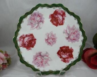 Vintage Bavarian ZSC Zeh Scherzer & Co Pink and Red Rose Serving Dish or Plate