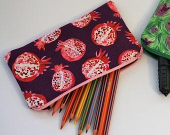 Handmade Cotton Zippered Pouch /Pencil Case / Make Up Case