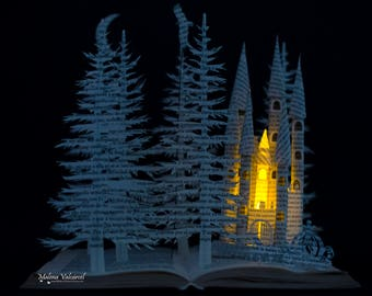 Fairytale Castle with Carriage - Book Sculpture - Book Art - Altered Book - SPECIAL PRICE!!
