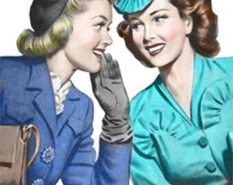 Retro Cartoon Comic Women Talking Whisper Gossip - Vintage Art Illustration - Digital Image