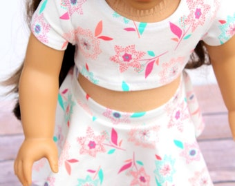 Fits like American Girl Doll Clothes - Spring Floral Crop Top and Skater Skirt | 18 Inch Doll Clothes